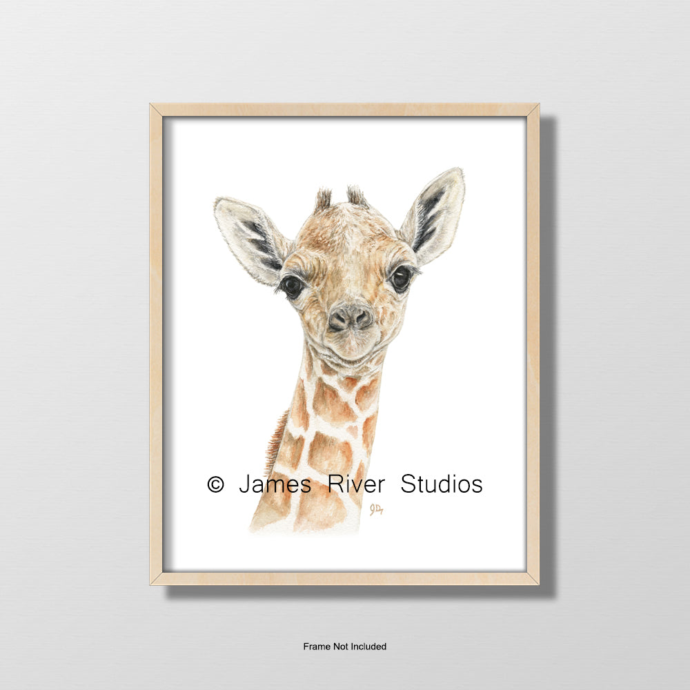 baby giraffe portrait nursery playroom art wall decor