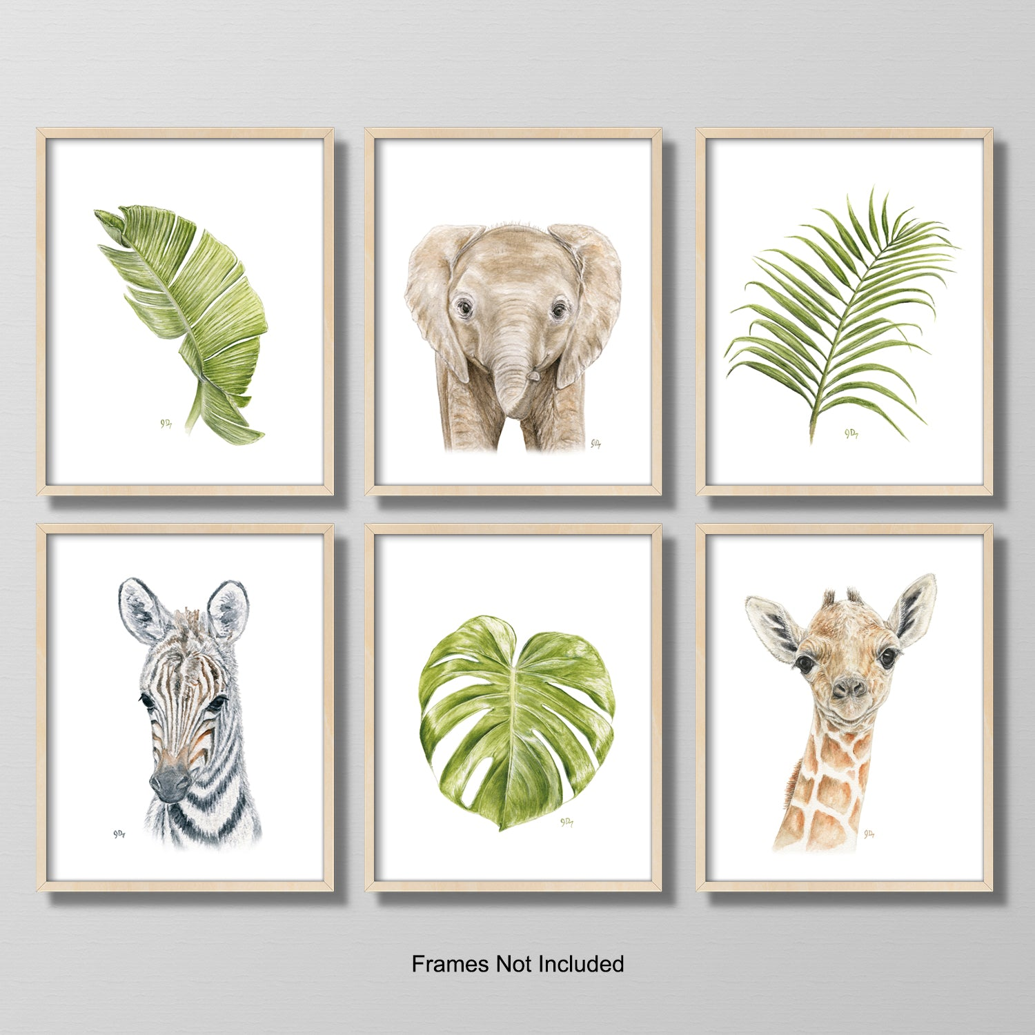 Safari Animal Portrait & Tropical Leaf Print Set 6