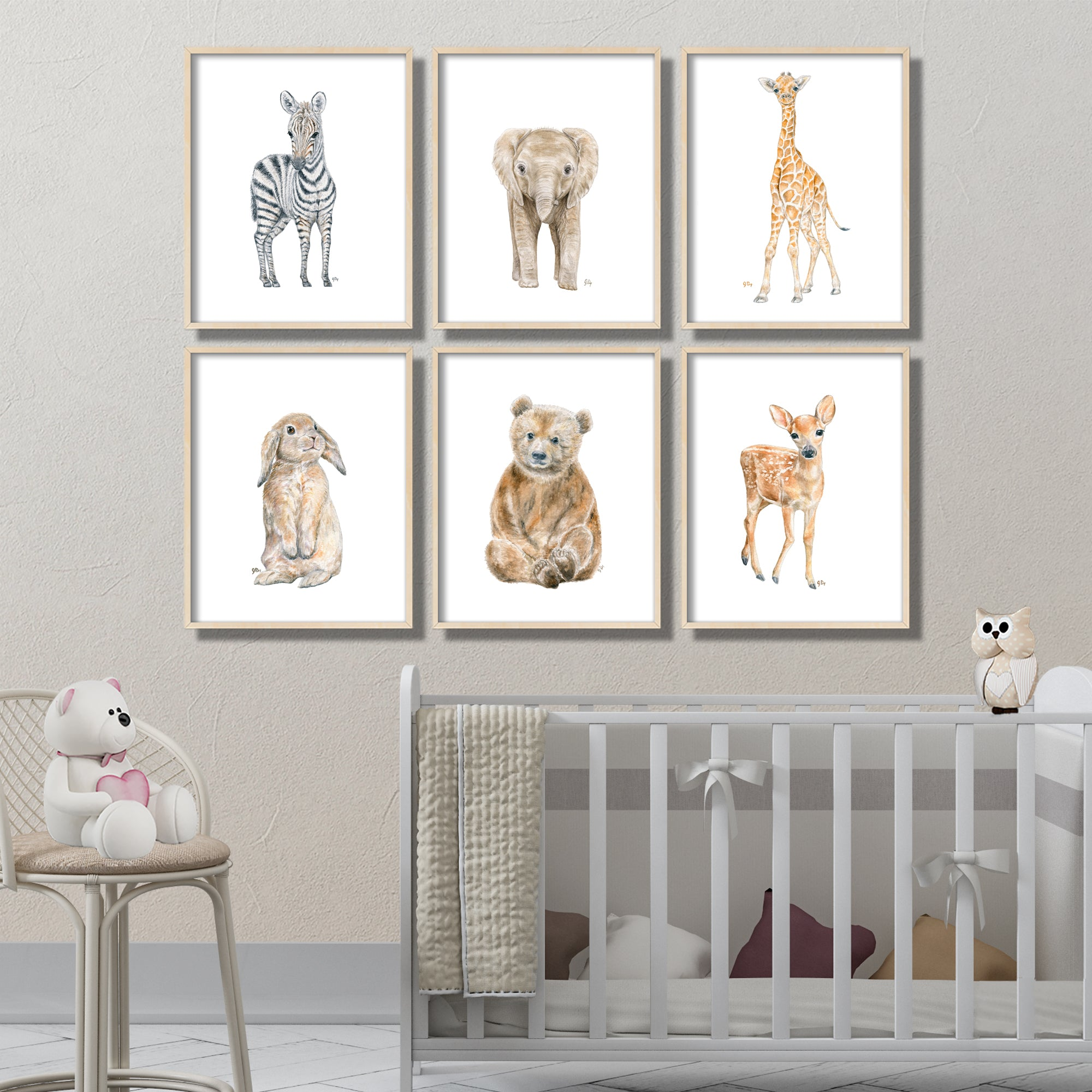 Baby Animal Prints Set of 6