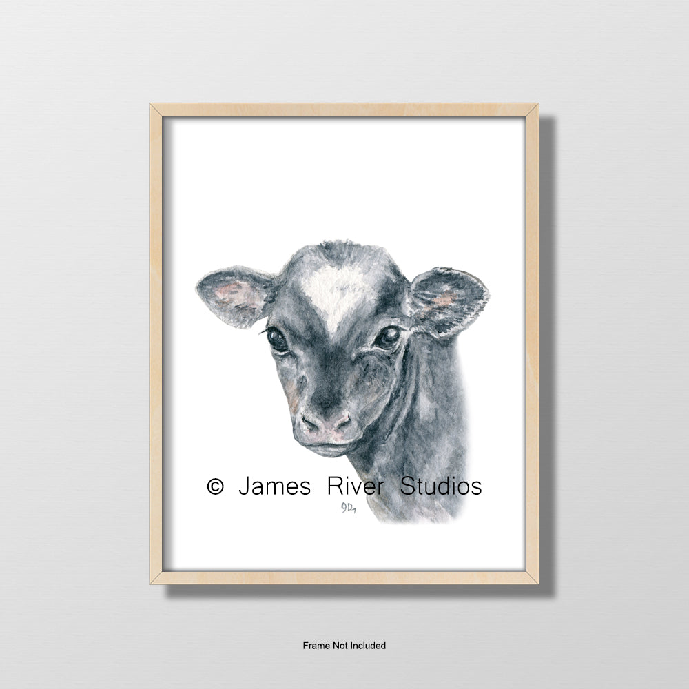 baby cow calf portrait nursery playroom art wall decor