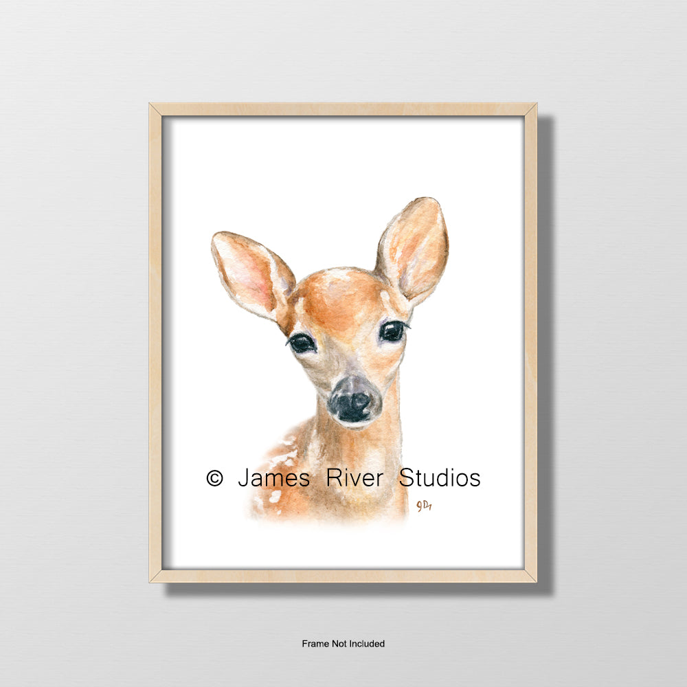 baby deer fawn portrait nursery playroom art wall decor