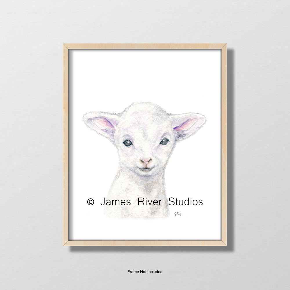 baby lamb sheep portrait nursery playroom art wall decor