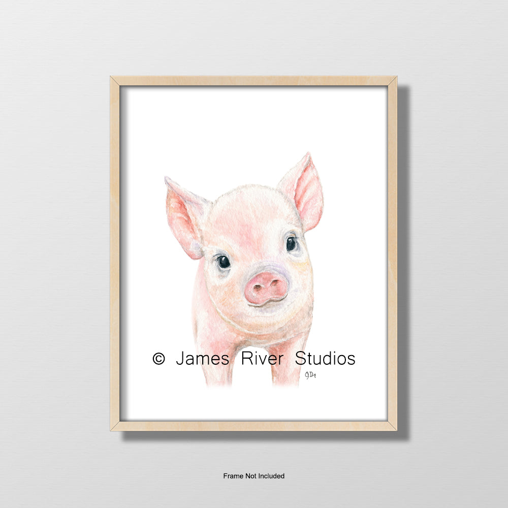 baby pig piglet portrait nursery playroom art wall decor