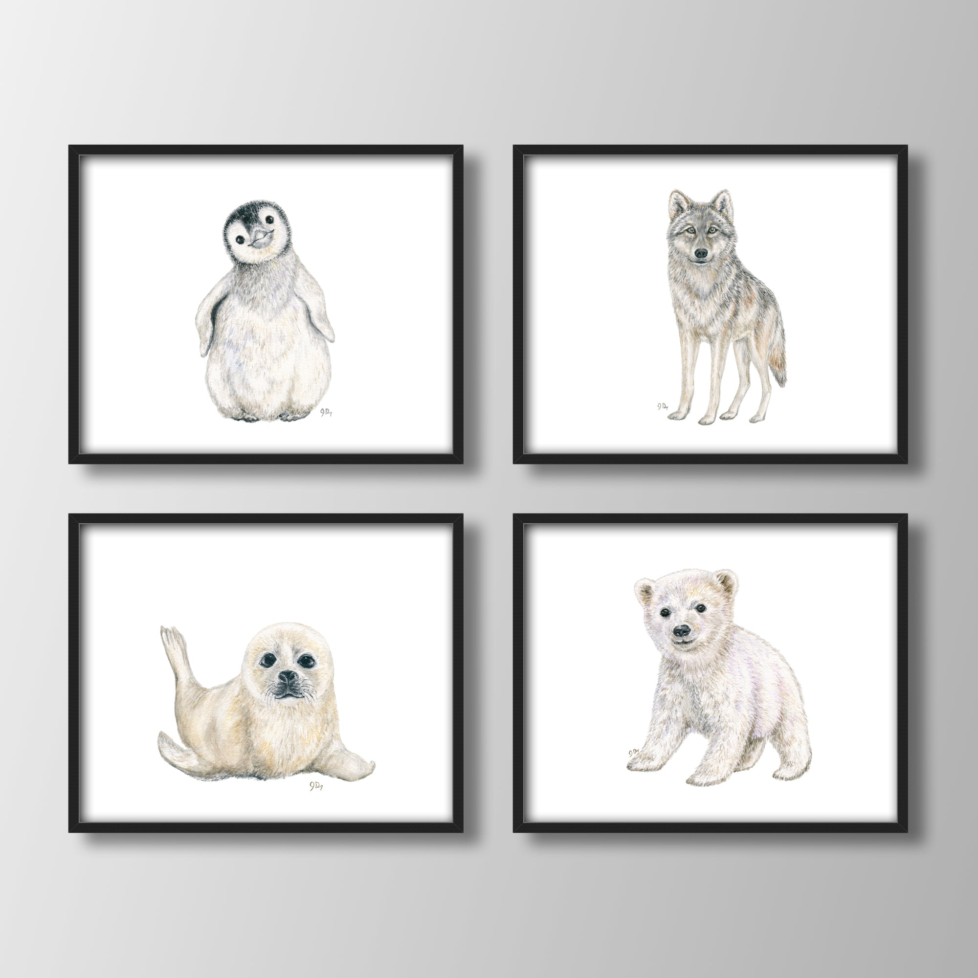 Arctic Animal Prints Set of 4