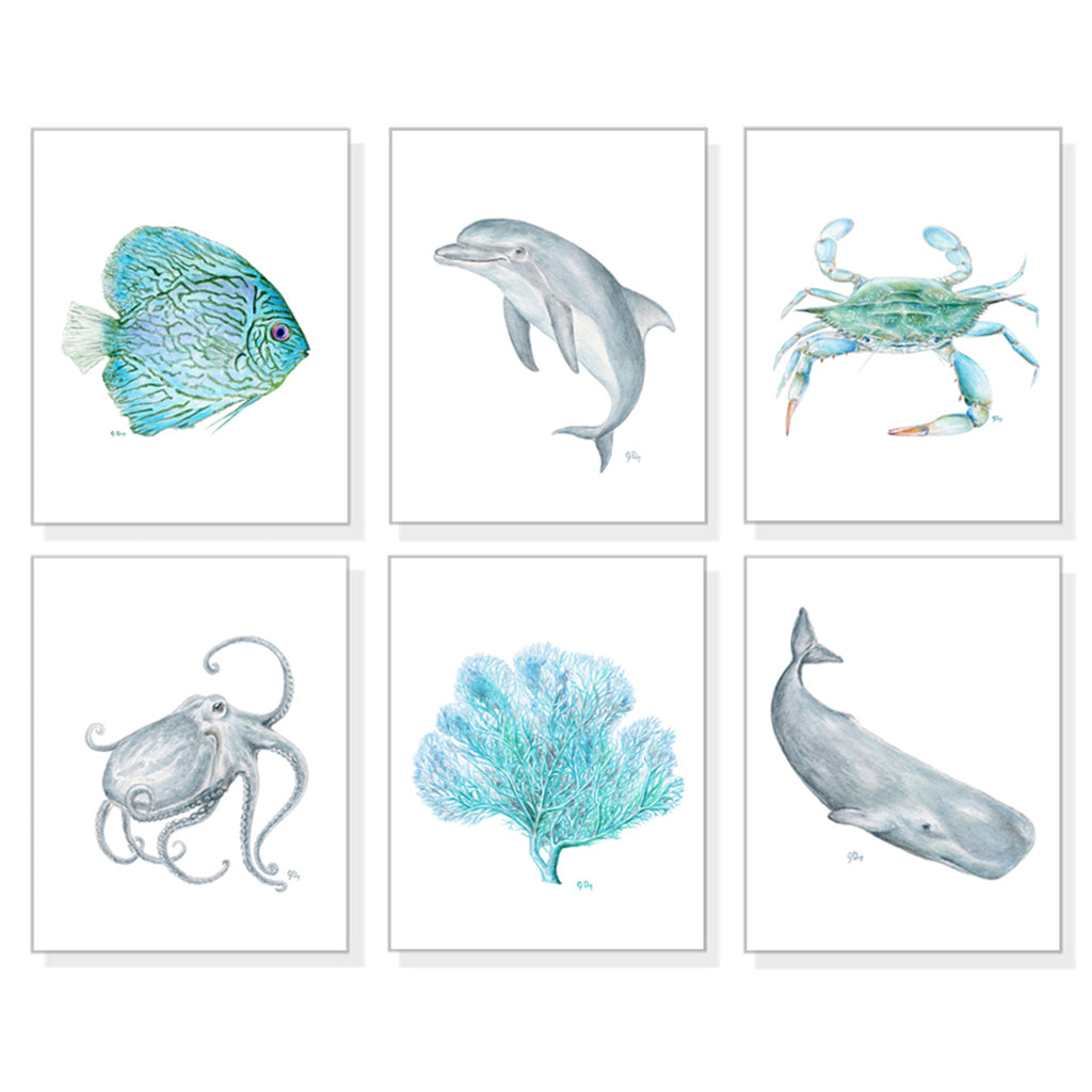 Blue Ocean Animals Prints