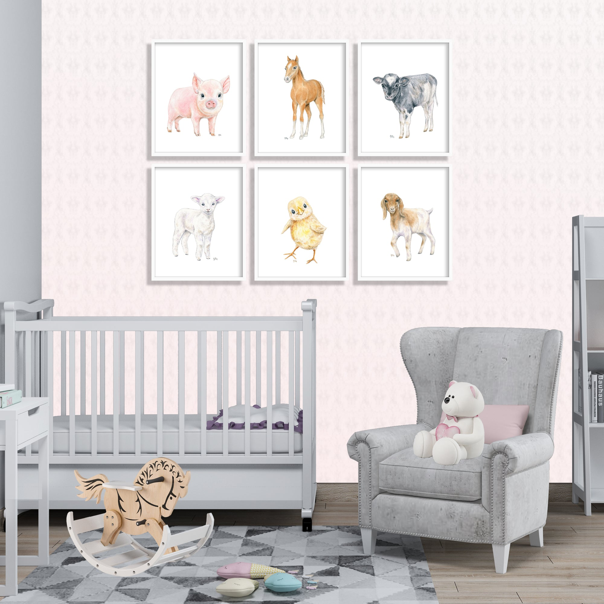 Farm Animal Prints Set of 6