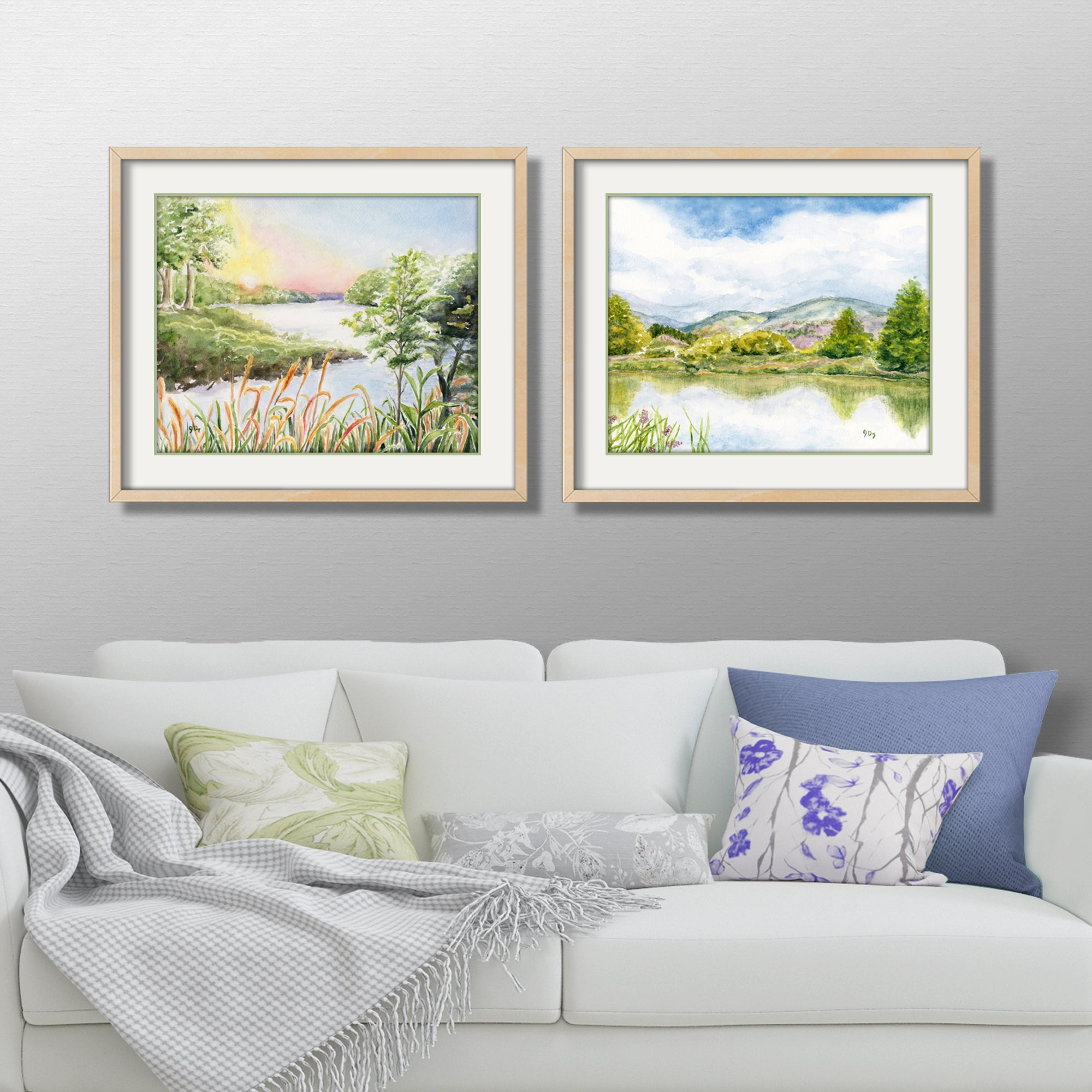 mountain lake watercolor river watercolor painting country landscape painting wall art decor sunset art