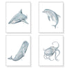 Blue Ocean & Sea Life Nautical Prints