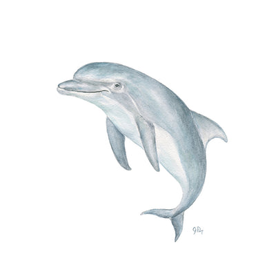 Blue Dolphin Watercolor Art