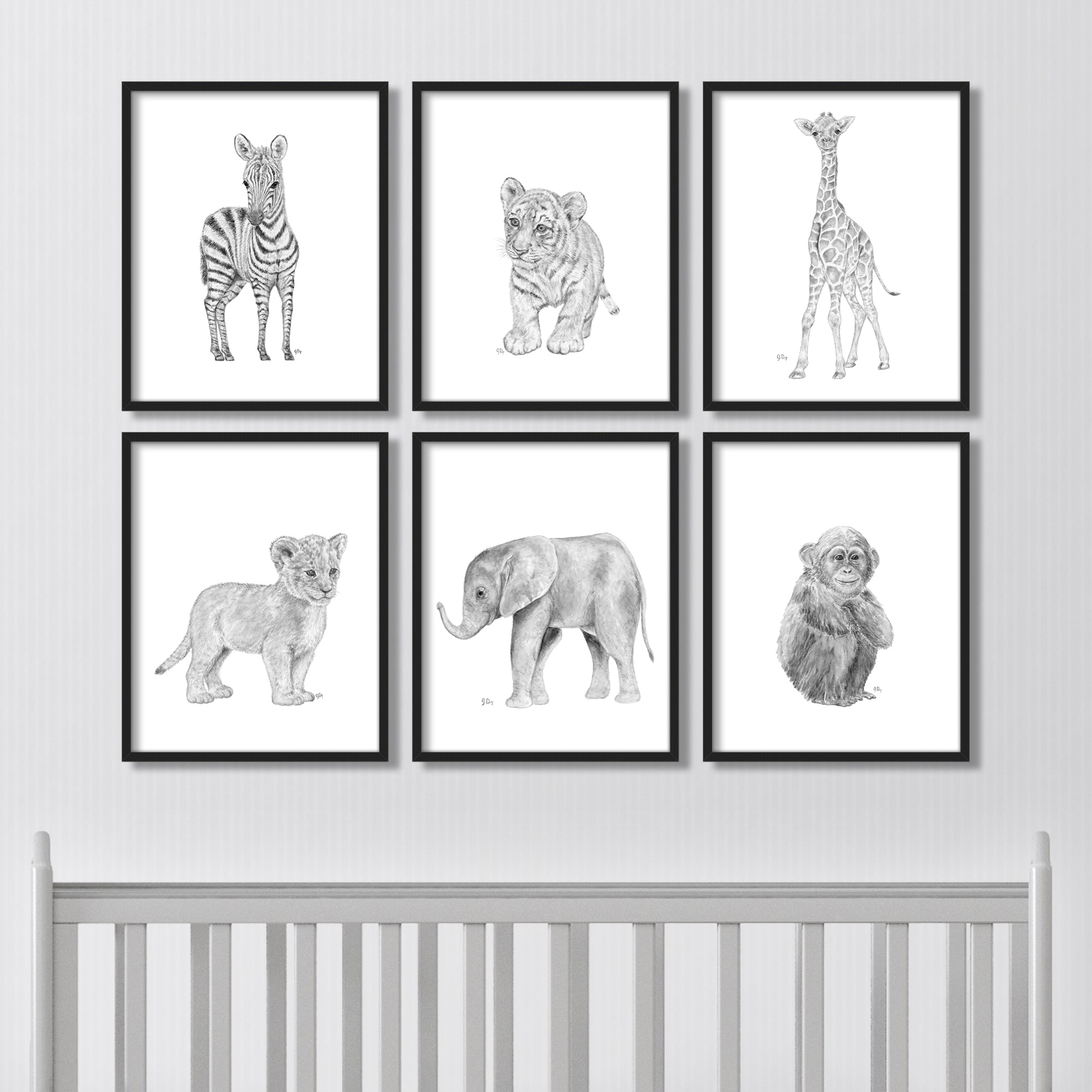 Black and White Gray Scale Grey Safari Jungle Animal Nursery Playroom Art Print Paintings Elephant Giraffe Monkey Lion Tiger Zebra