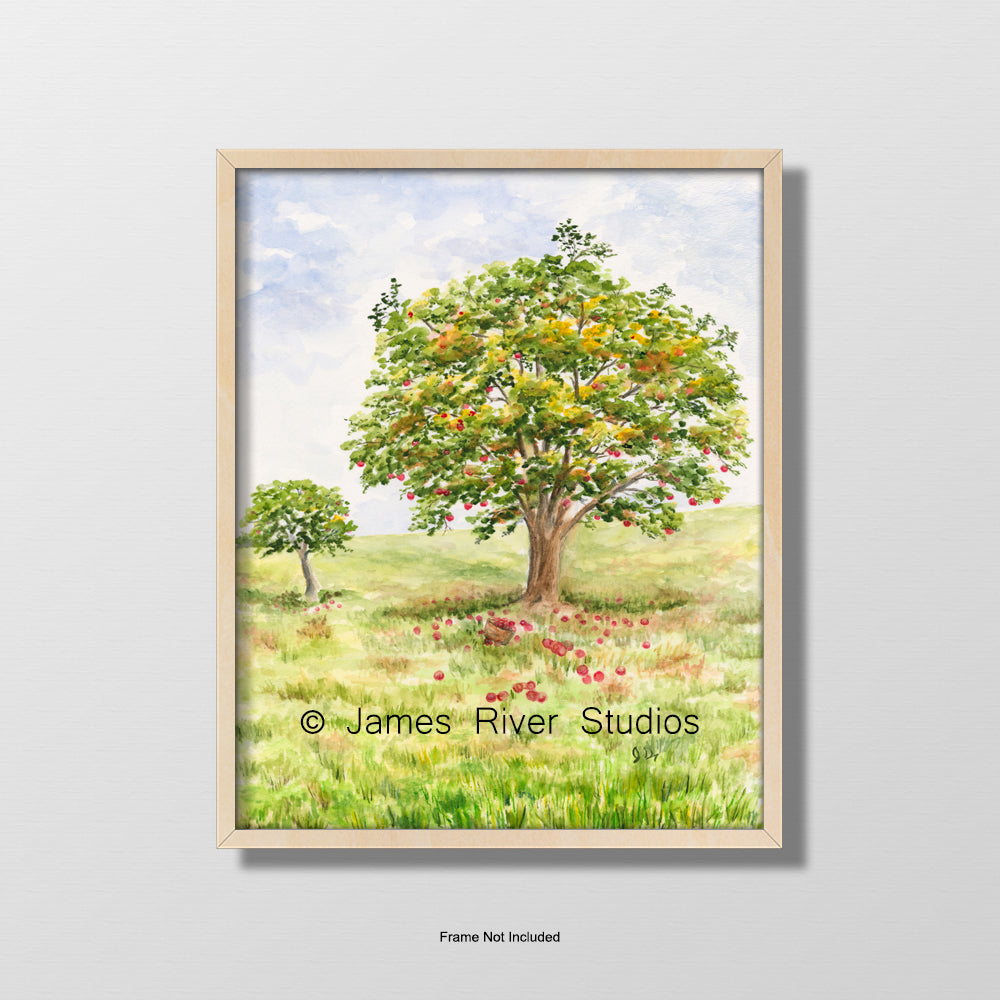 apple tree landscape watercolor painting apple orchard print country wall decor
