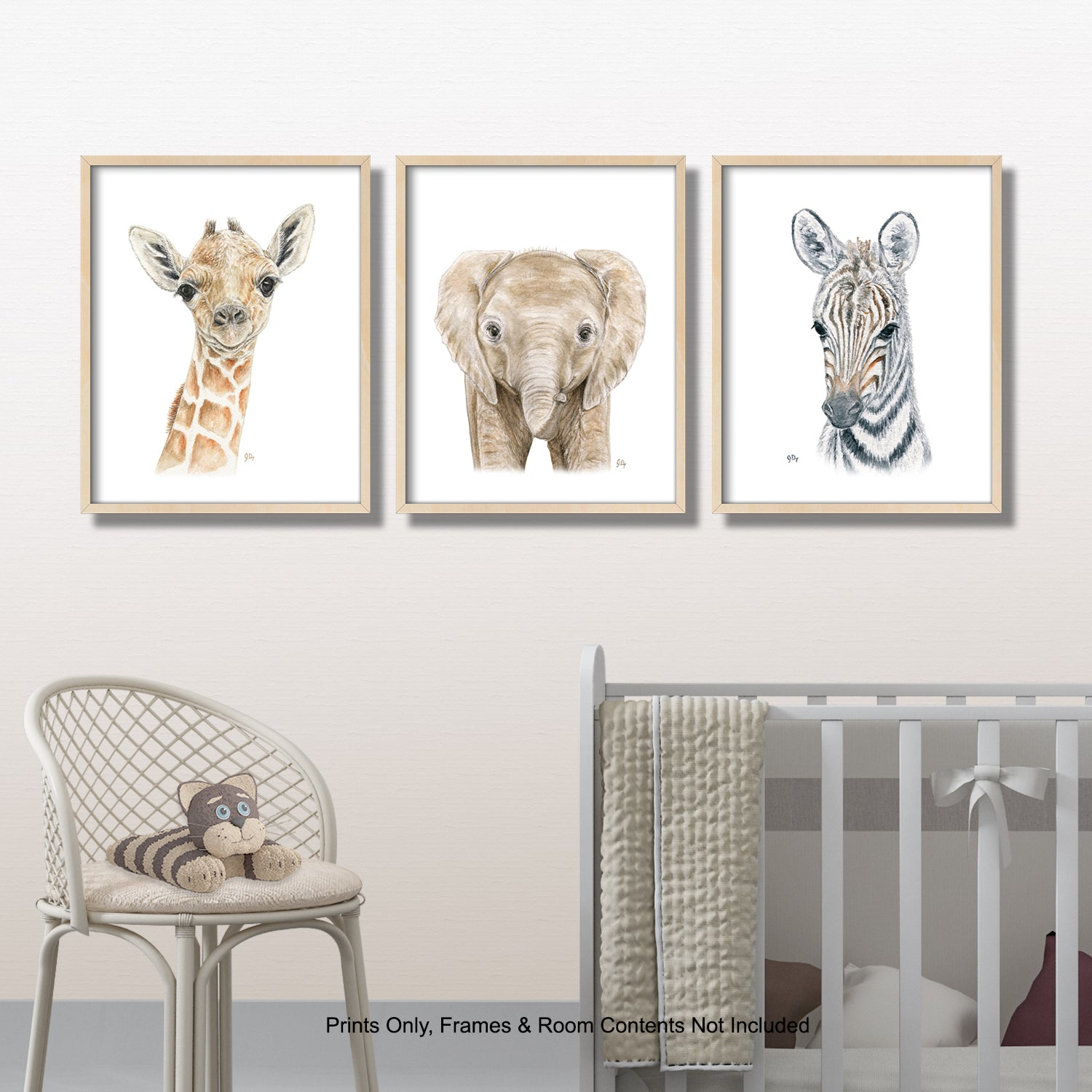 safari jungle african animal nursery playroom art wall decor giraffe elephant zebra