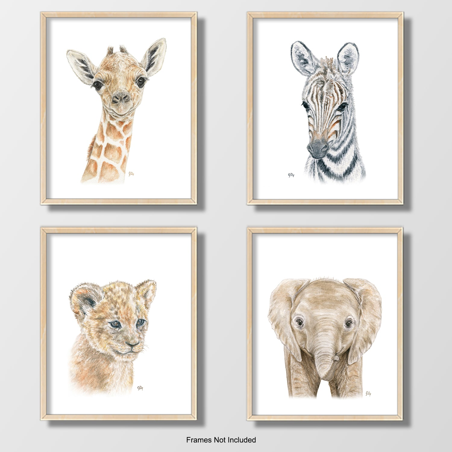 safari jungle african animal nursery playroom art wall decor giraffe elephant zebra lion cub