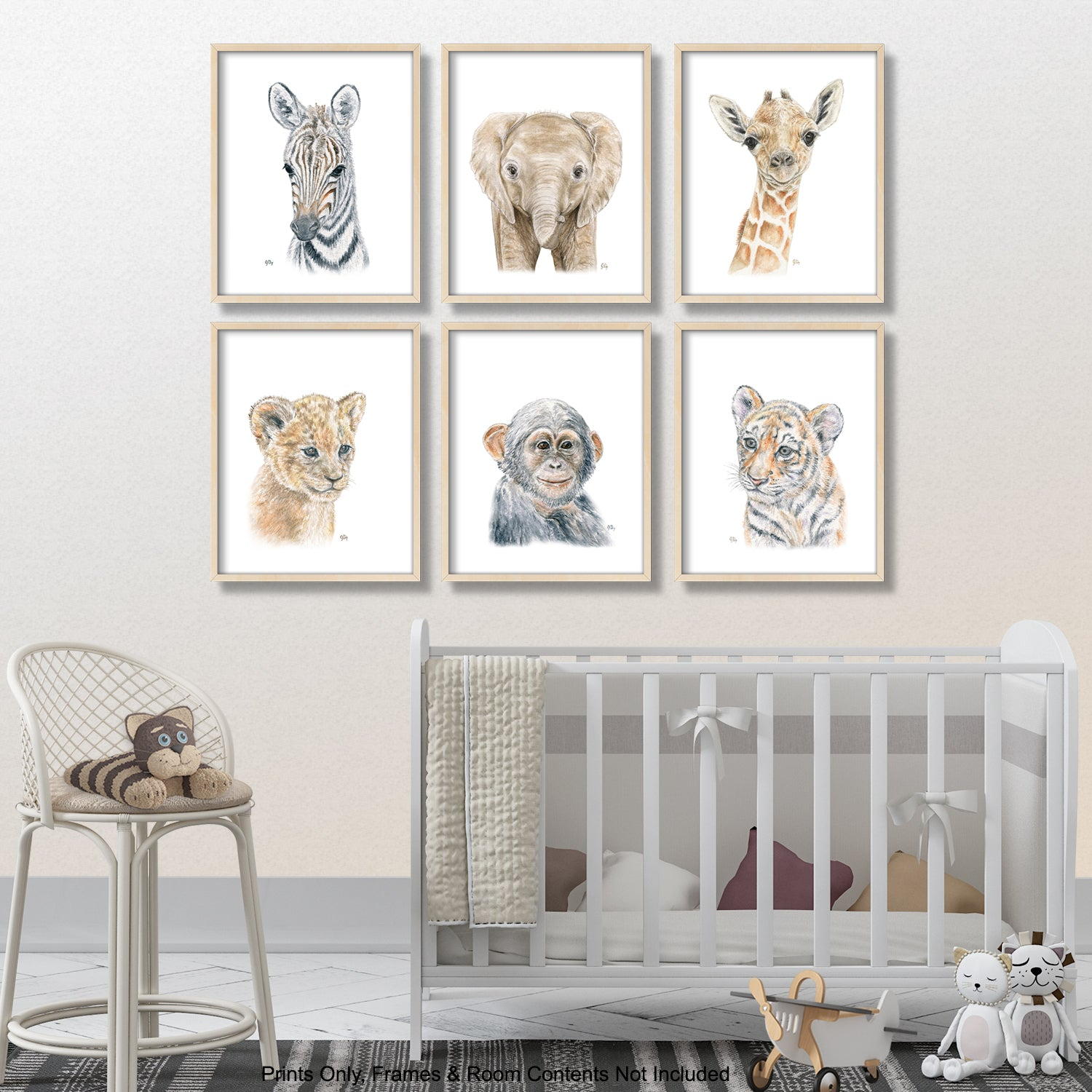 safari jungle african animal adventure nursery playroom art wall decor giraffe elephant zebra lion cub monkey tiger