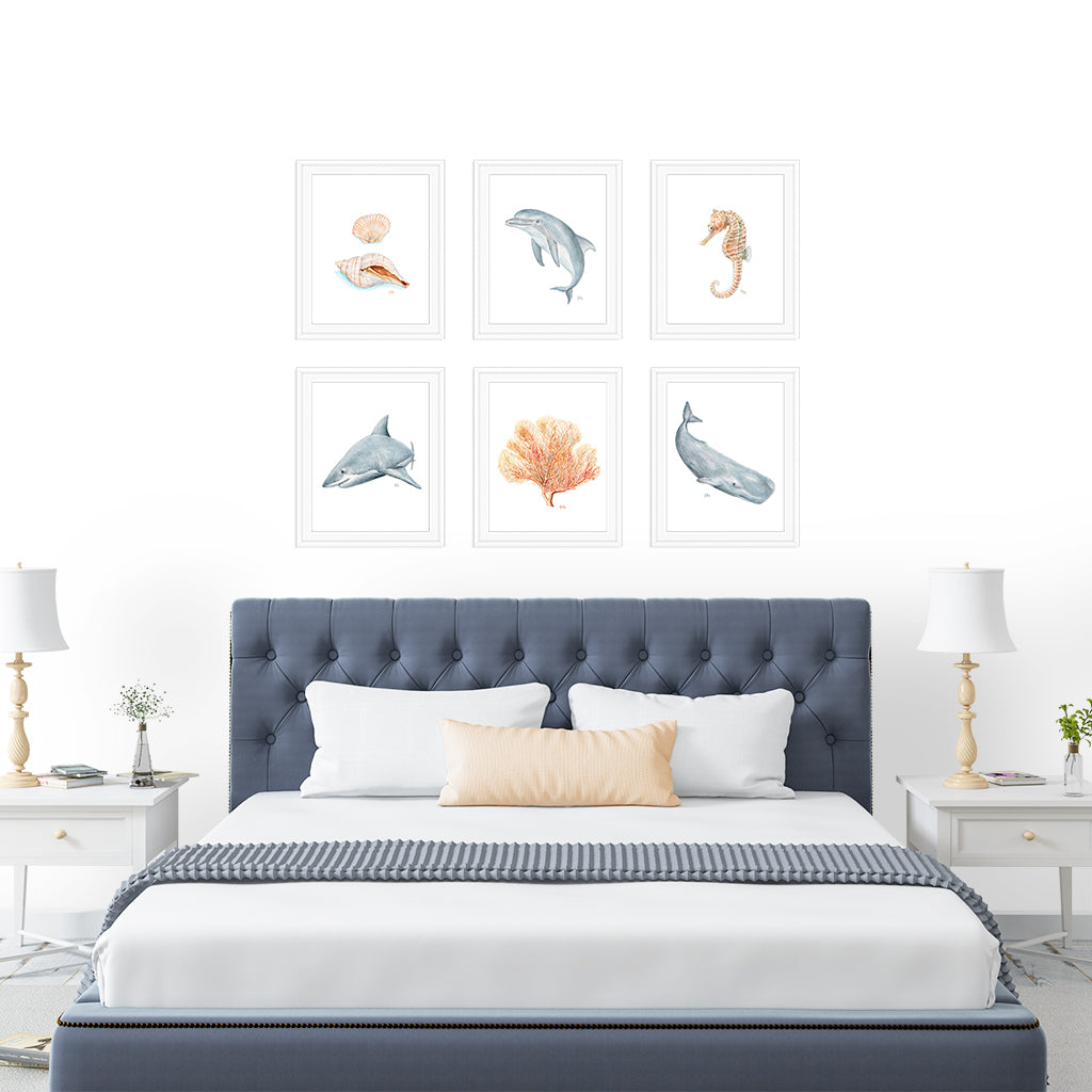 Beach Ocean & Sea Life Prints Set of 6