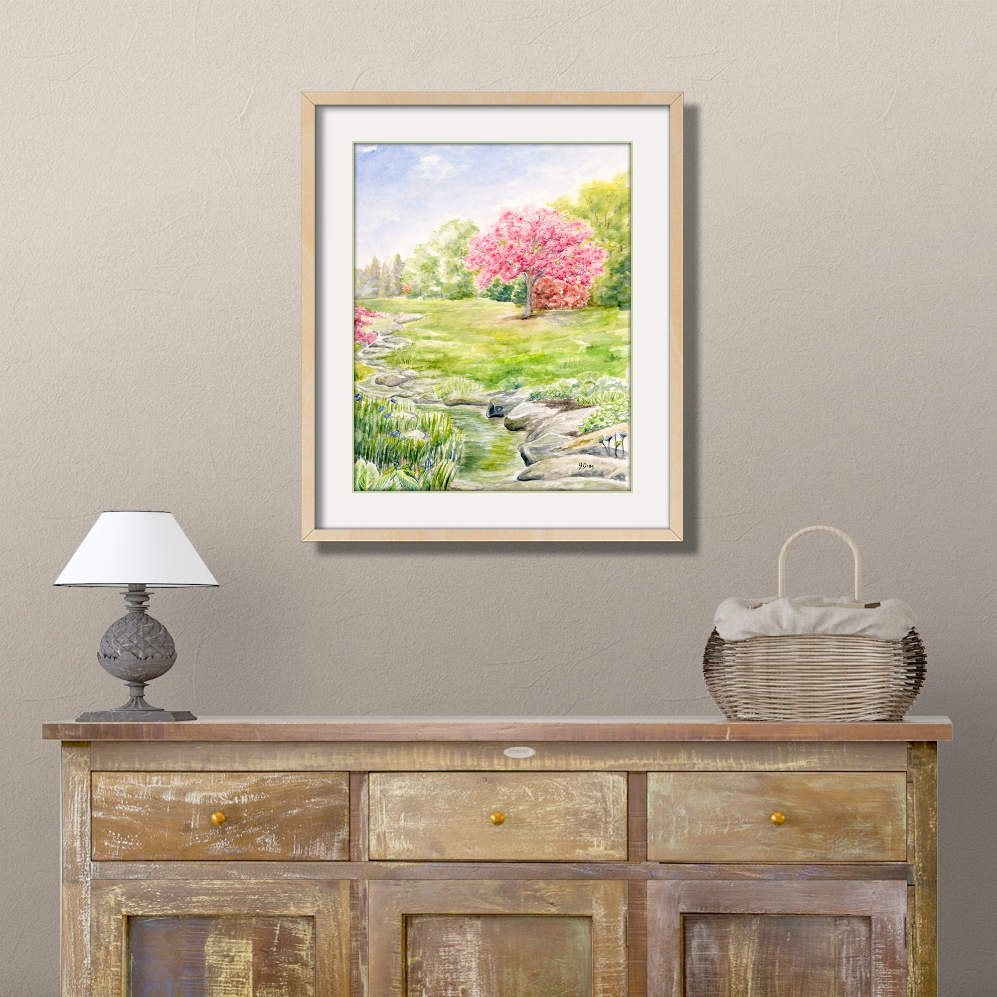 cherry tree watercolor painting print stream brook creek wall art landscape