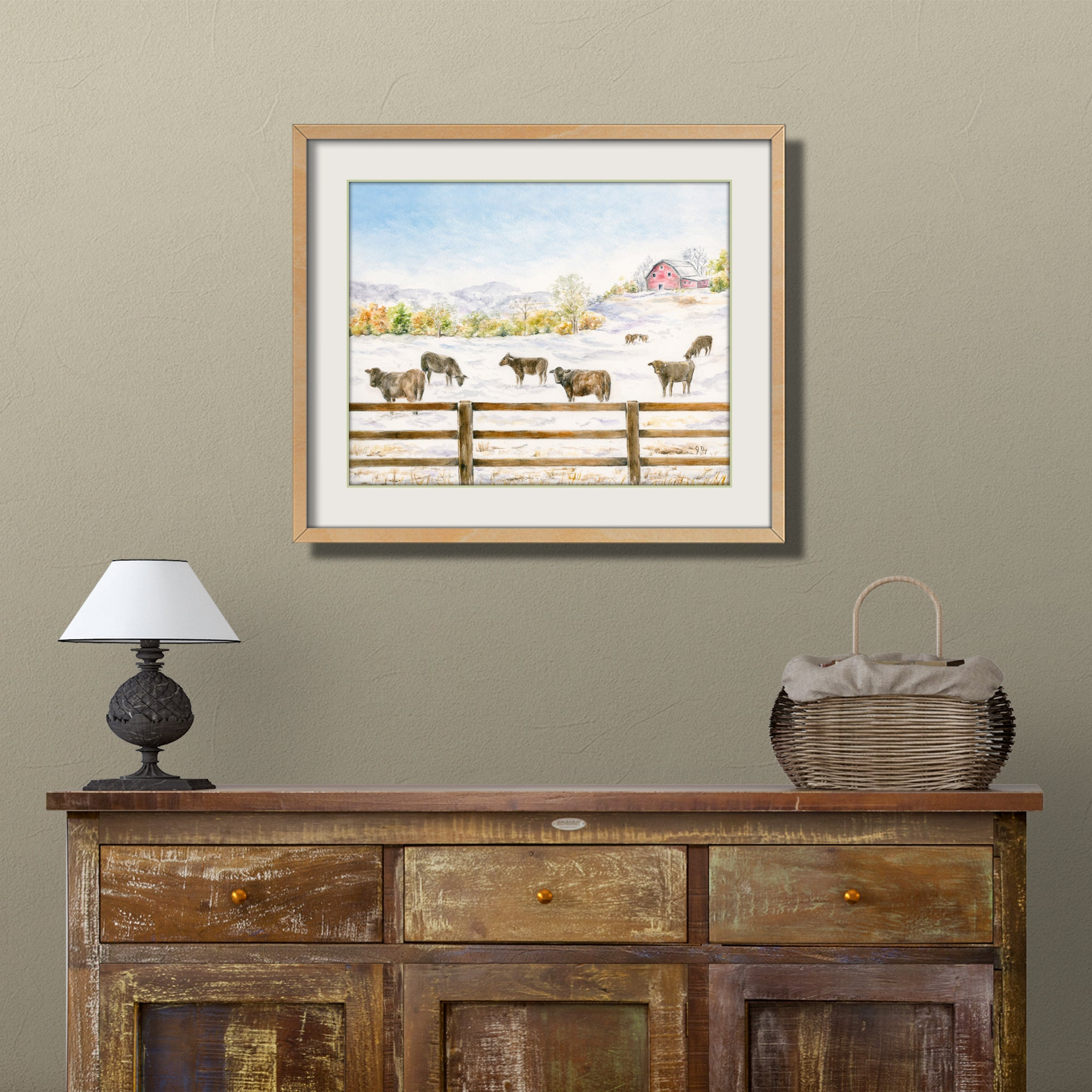 farm barn landscape watercolor painting winter rural art dairy farm art cow painting scenic country landscape wall art
