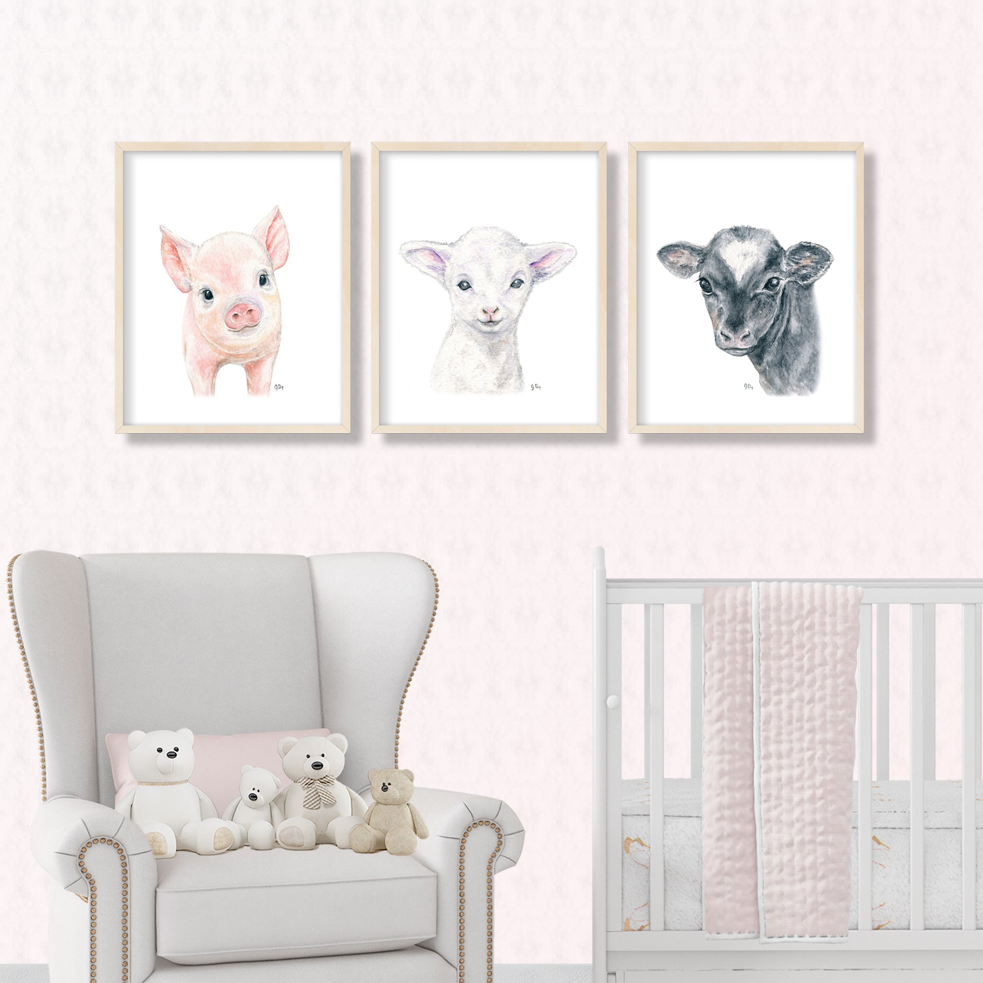 farm barnyard nursery playroom art decor pig lamb cow