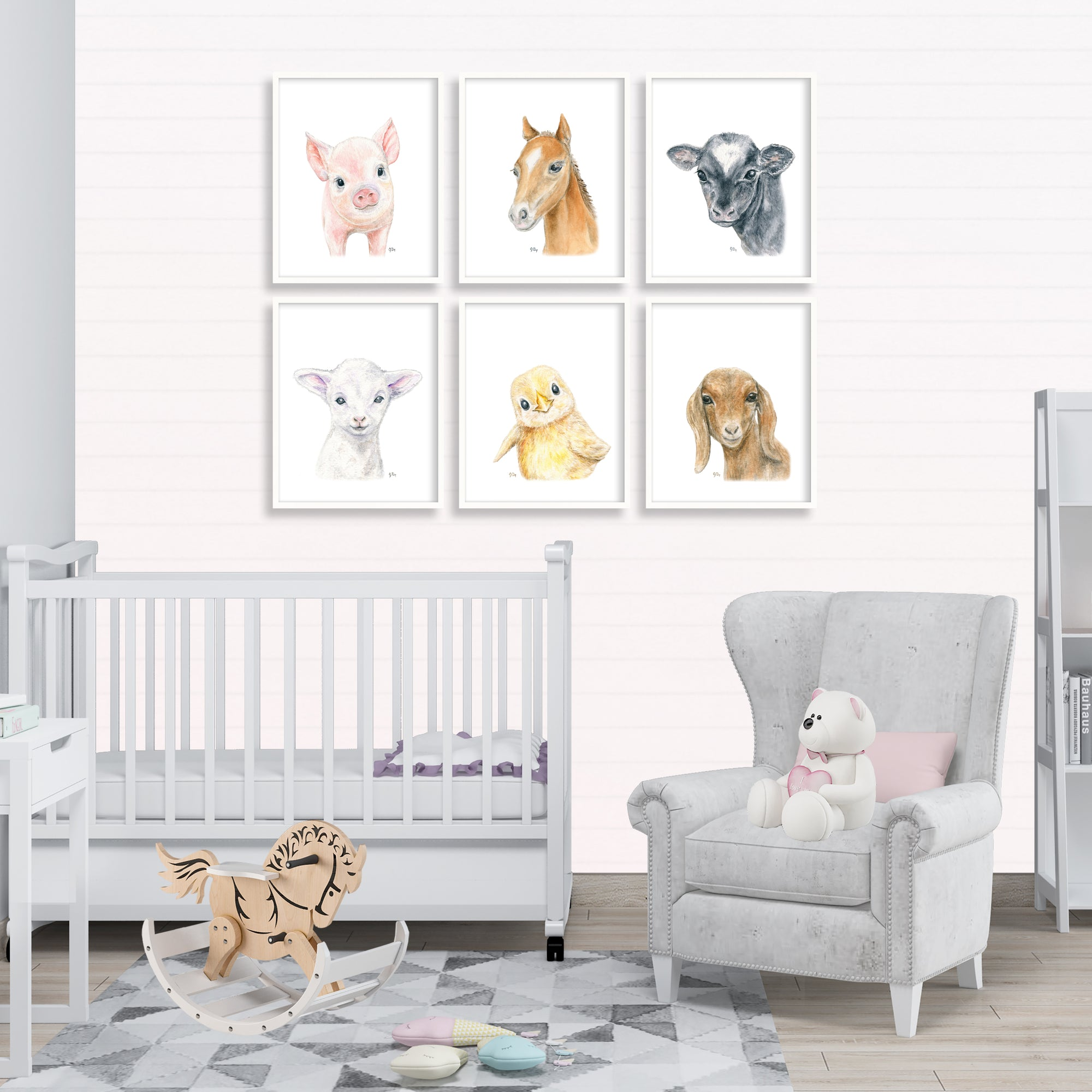 farm  farmyard barnyard animal nursery playroom decor wall art horse pig cow lamb sheep chick goat