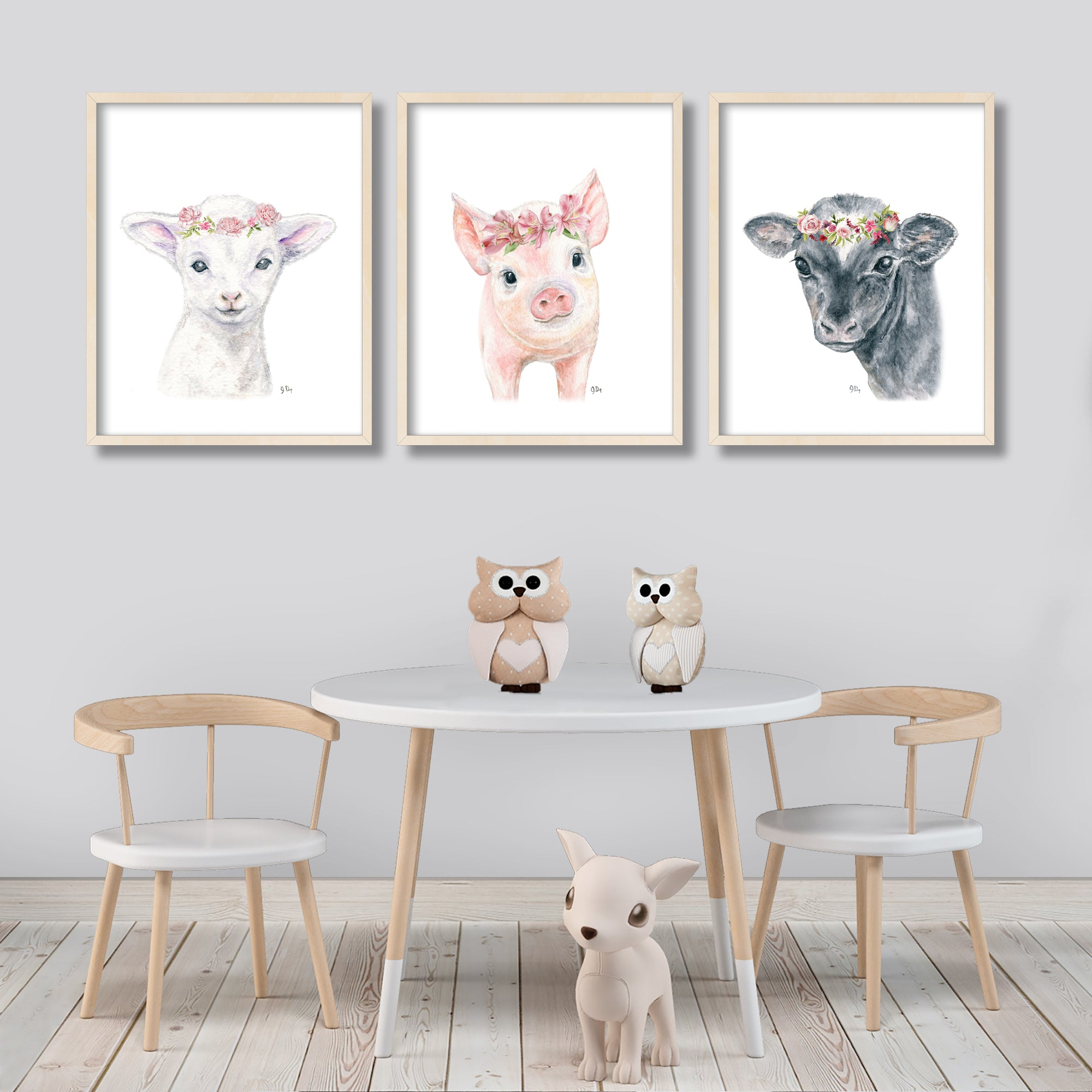 farm flower crown animal prints nursery art decor lamb cow pig