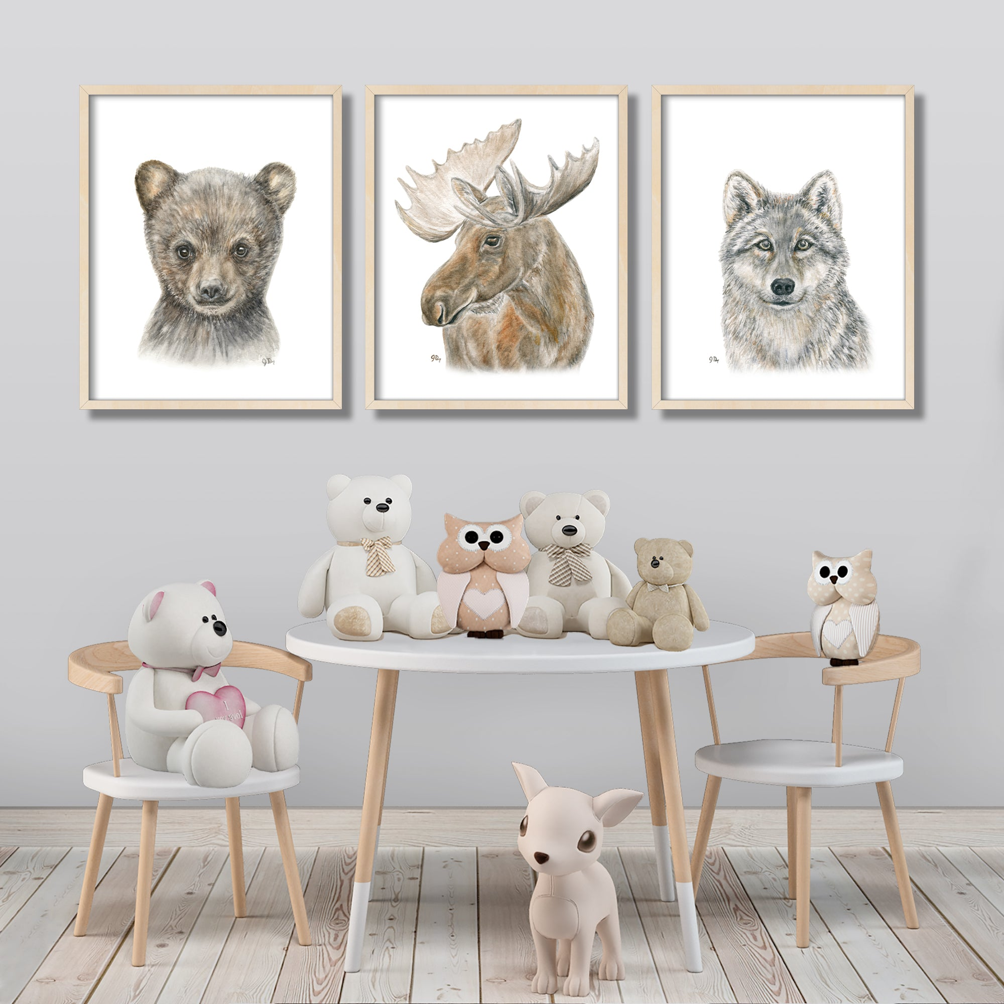 Forest Animal Portrait Print Set 3
