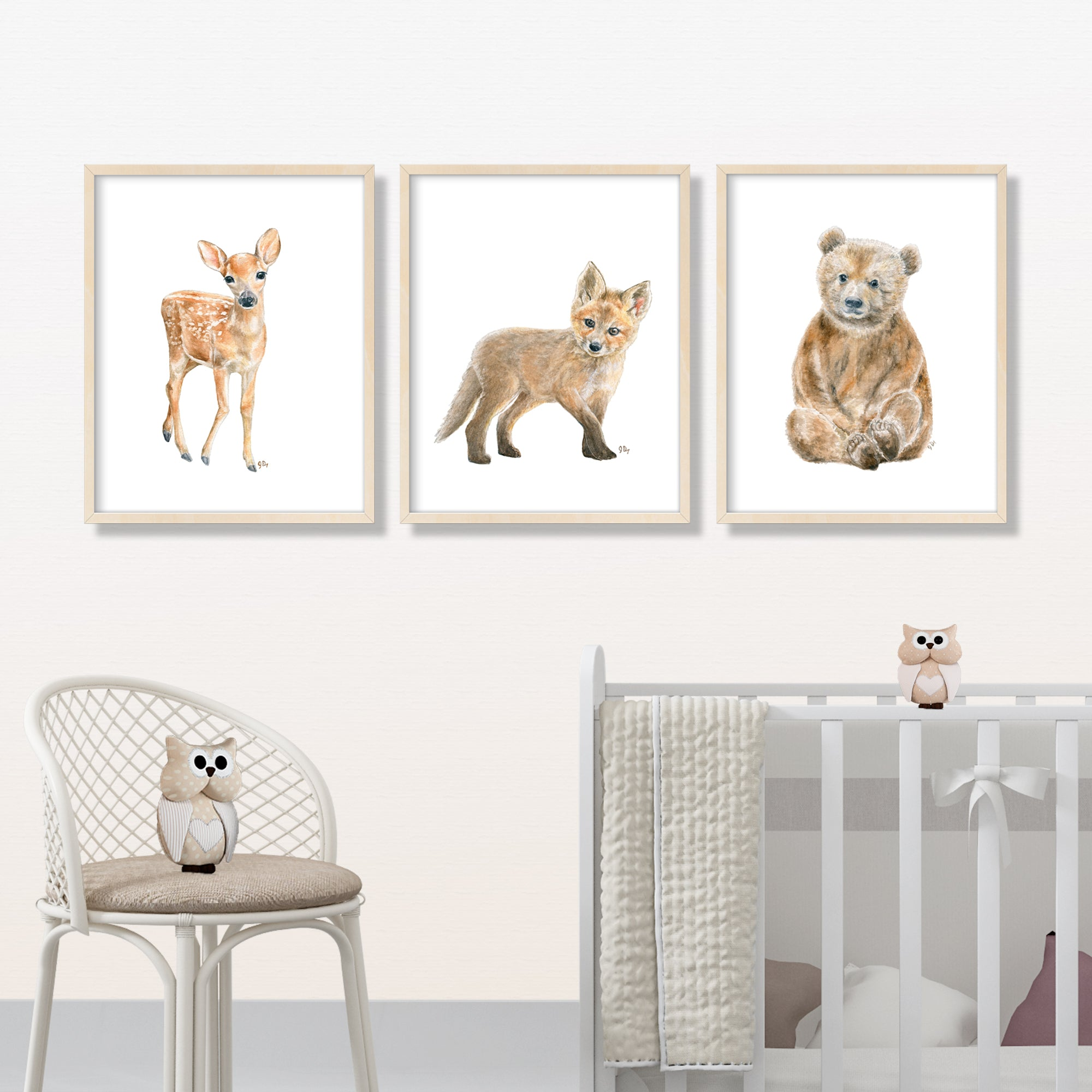 Woodland Animal Prints Set of 3