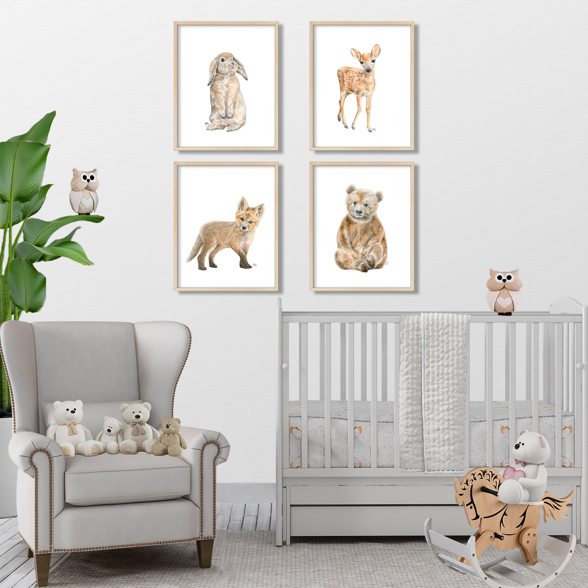 Woodland Animal Prints Set of 4