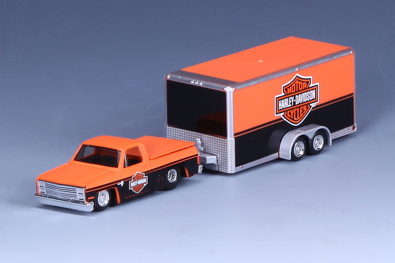 "MAISTO - HARLEY DAVIDSON 1987 CHEVY SILVERADO & TRAILER ""ORANGE & BLACK"""