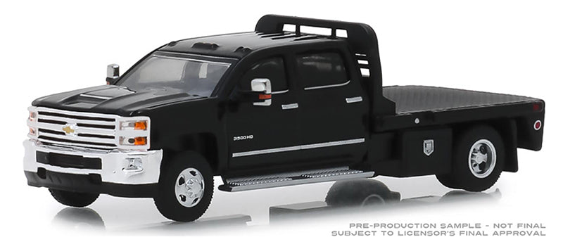 "GREENLIGHT - 2018 CHEVY SILVERADO 3500 DUALLY FLATBED ""BLACK"""