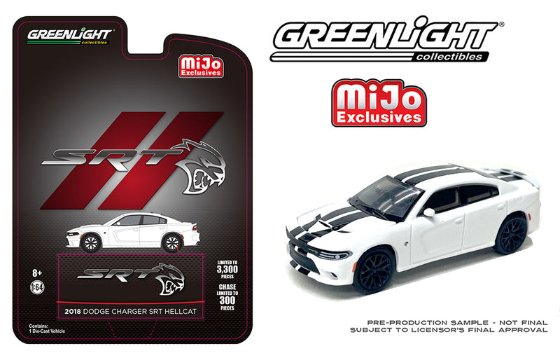 "GREENLIGHT - 2018 DODGE CHARGER SRT HELLCAT ""WHITE"" ***PRE ORDER***"