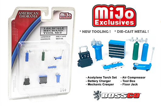 "1/64 AMERICAN DIORAMA 7 PC. MECHANIC TOOL SET ""BLUE"""