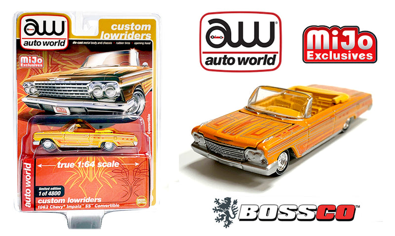 AUTOWORLD - 1962 CHEVY IMPALA CONVERTIBLE LOWRIDER (YELLOW)
