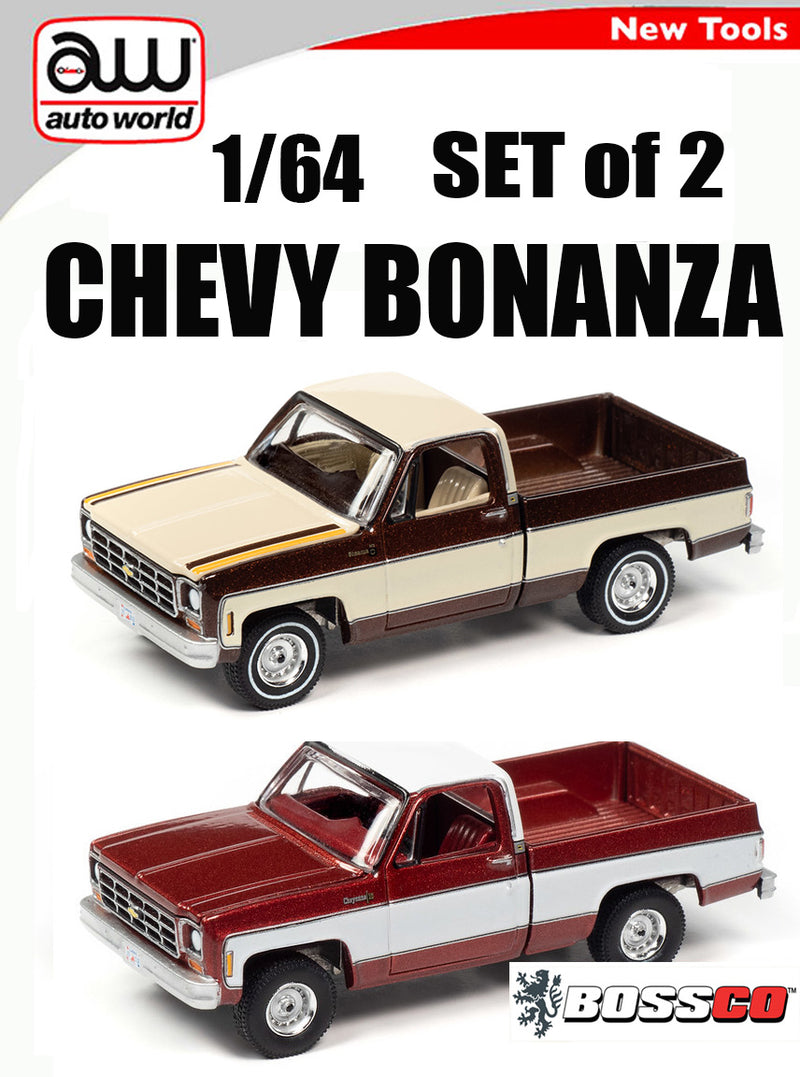 AUTOWORLD - '77 CHEVY BONANZA TRUCK (SET of 2)