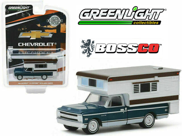 "GREENLIGHT - 1969 CHEVY CHEYENNE C10 with CAMPER ""BLUE & WHITE"""