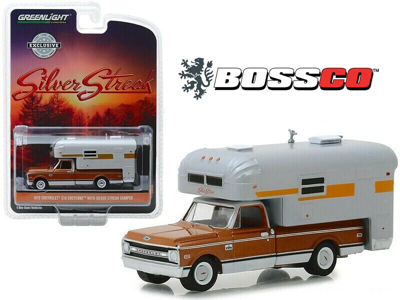 "GREENLIGHT - 1970 CHEVY CHEYENNE C10 with CAMPER ""BROWN"""