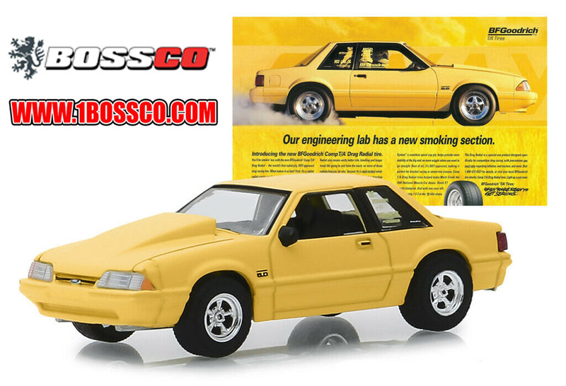"GREENLIGHT - 1988 FORD MUSTANG 5.0 VINTAGE AD CARS ""YELLOW"""