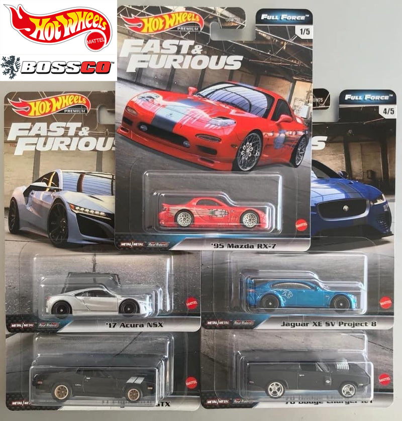"HOT WHEELS - ""FAST & FURIOUS FULL FORCE"" (SET of 5) *** PRE ORDER ***"
