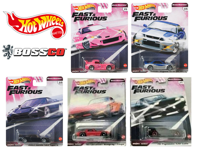 "HOT WHEELS - FAST & FURIOUS ""QUICK SHIFTERS"" (SET of 5)"