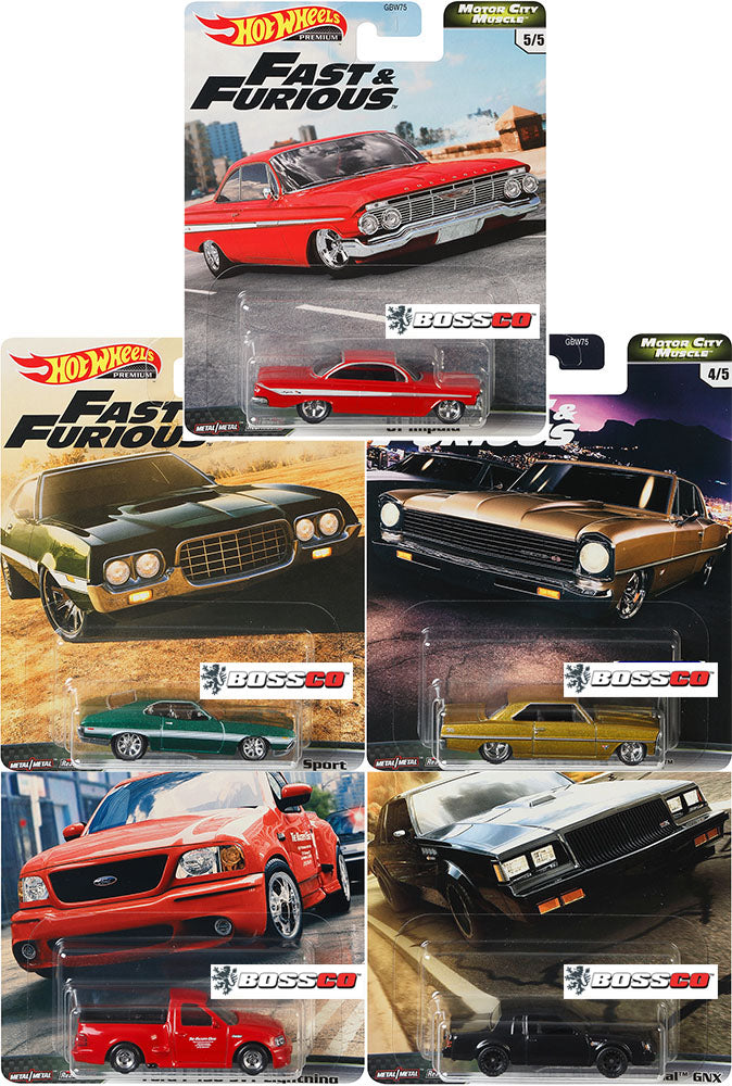 "HOT WHEELS - CAR CULTURE ""FAST & FURIOUS V8"" (SET of 5)"