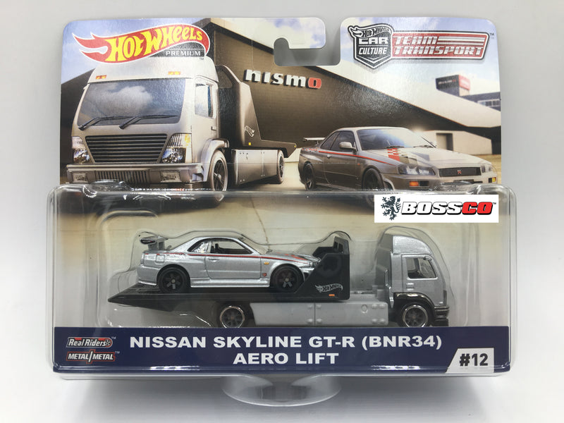 HOT WHEELS -  TEAM TRANSPORT NISSAN SKYLINE GT-R & AERO LIFT