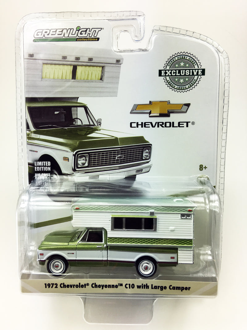 "GREENLIGHT - 1972 CHEVROLET CHEYENNE C10 with LARGE CAMPER ""METALLIC GREEN"""