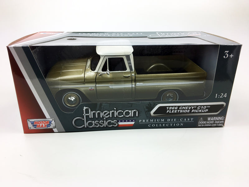 "MOTOR MAX - 1/24 1966 CHEVROLET C10 FLEETSIDE ""GOLD & WHITE"""