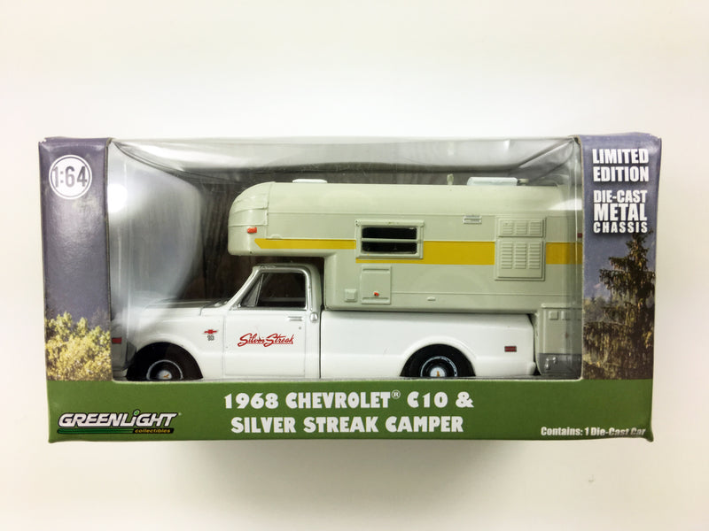 "GREENLIGHT - 1968 CHEVROLET CHEYENNE C10 with SILVER STREAK CAMPER ""WHITE"""