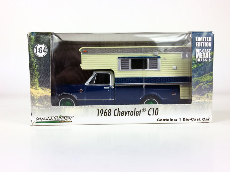 "GREENLIGHT - 1968 CHEVROLET C10 with CAMPER ""GREEN MACHINE"""