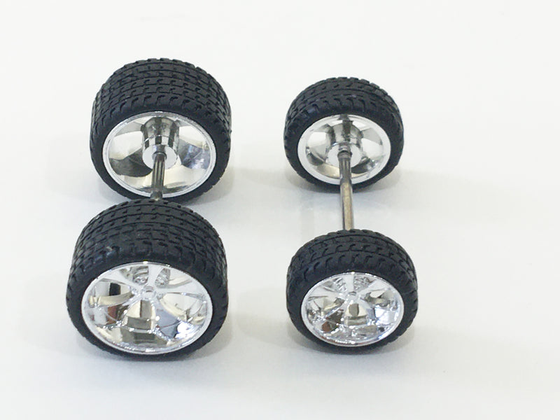 Maisto (SET OF 4)  FIVE SPOKE CHROME WHEELS with RUBBER TIRES & AXLES