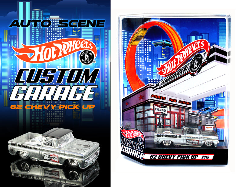 AUTO SCENE HOT WHEELS CUSTOM GARAGE CHAMPION 62 CHEVY
