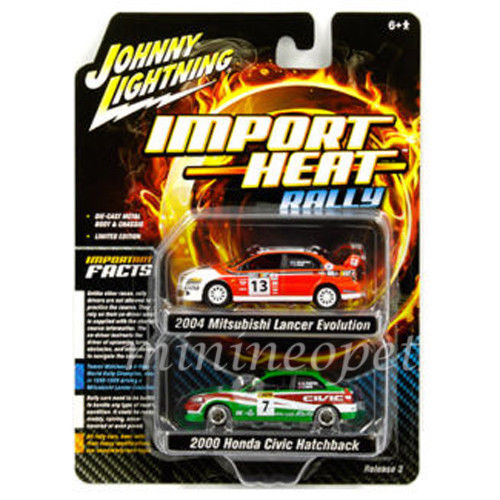 JOHNNY LIGHTNING - '2004 MITSUBISHI & 2000 HONDA CIVIC 2-PACK