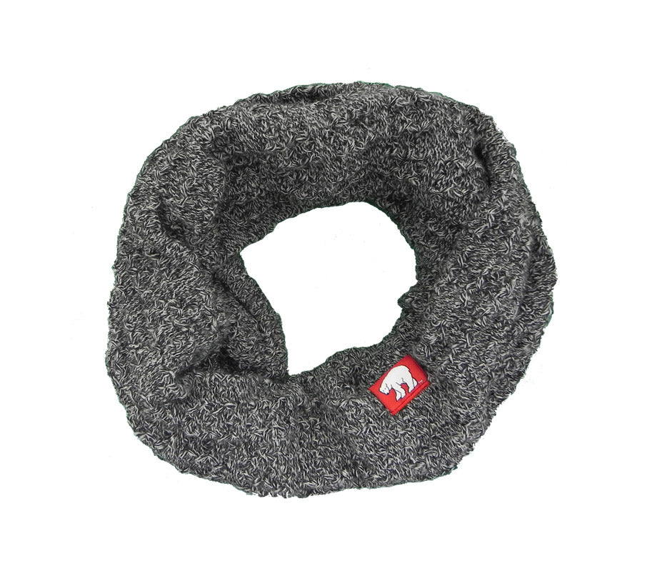 Circle Of Warmth Marled Black Chunky Knit Infinity Scarf