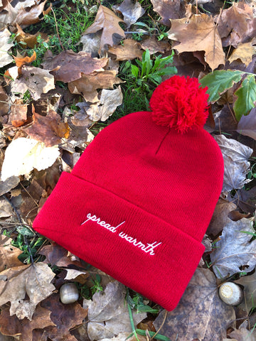 Red Spread Warmth Pom Beanie
