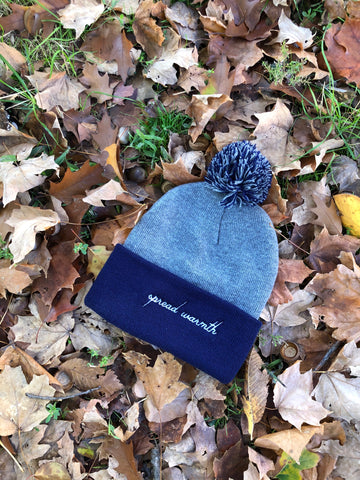 Navy Gray Spread Warmth Pom Beanie